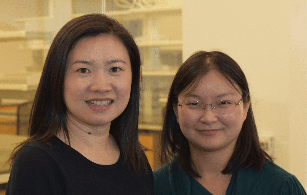 Left: Jia Liu, PhD, Epigenetic and Behavioral Facility Manager; Right: Ye He, PhD, Live Imaging and Bioenergetics Facilities Manager