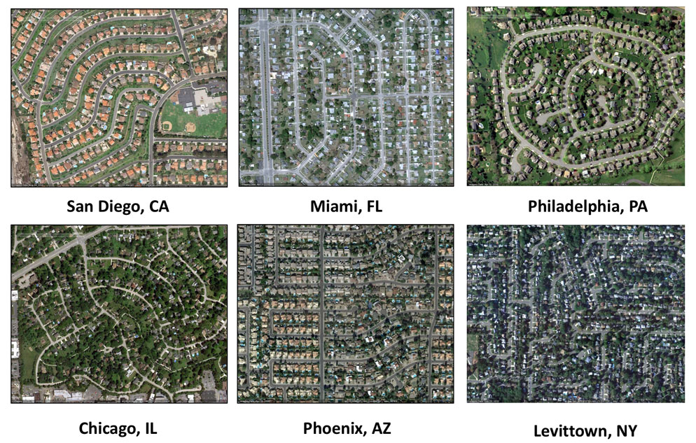 Aerial views of U.S. suburban neighborhoods suggest many potential environmental similarities despite local differences in climate and other conditions. Credit: N. Giner.