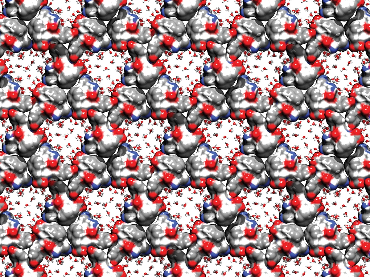 digital rendering of tripeptide crystals in black, grey, white and red