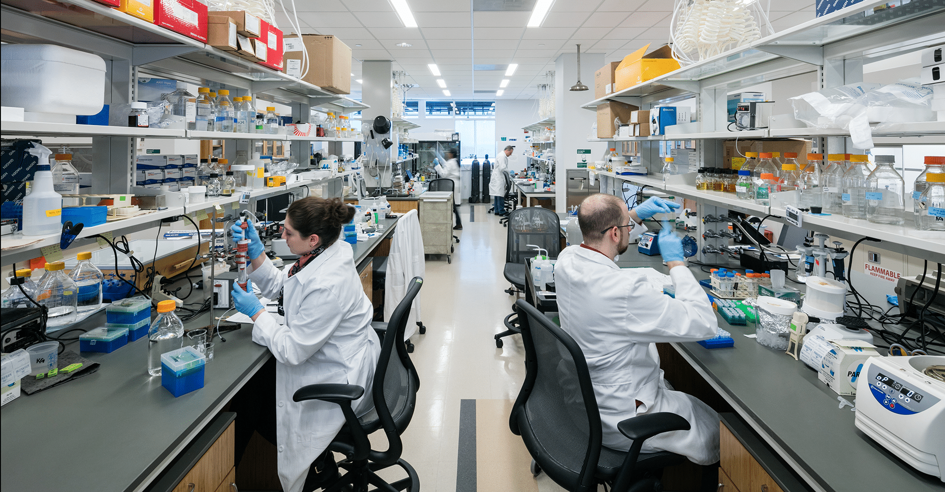 ASRC researchers working in a laboratory