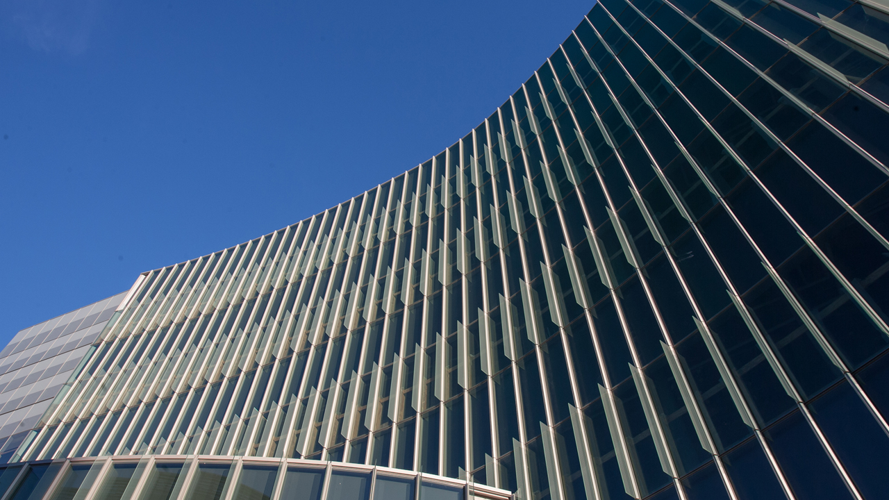 ASRC exterior, looking up from ground level